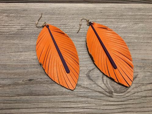 Clemson Felt Feather Earrings