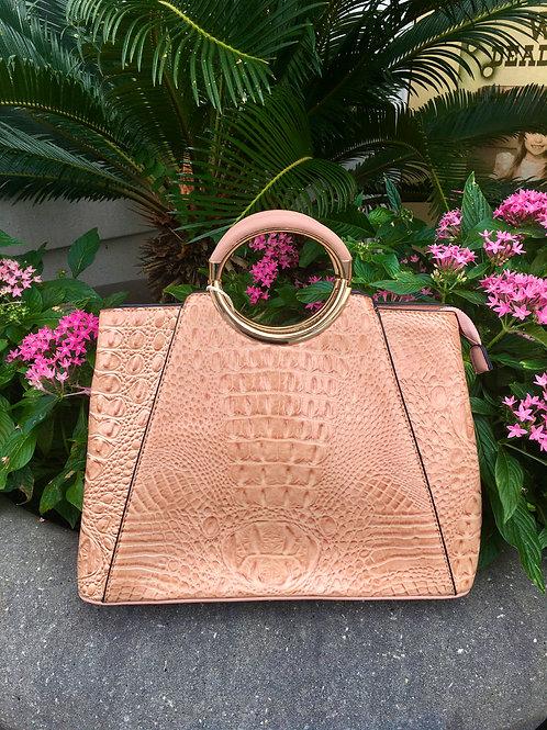Crocodile Metal Handle Handbag