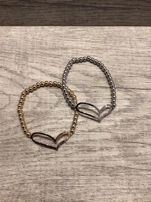 Heart metal stretch bracelet
