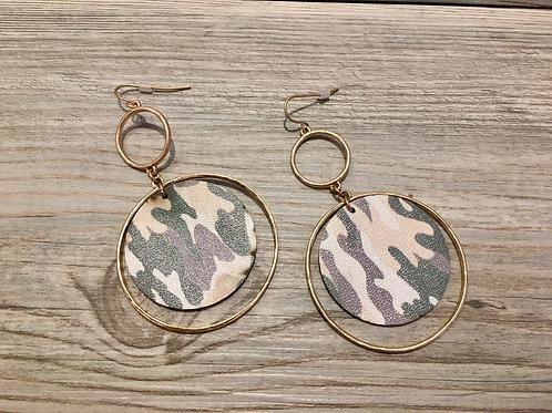 Camo Print Dangle Earrings