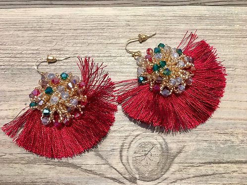 Festive Beaded Fan Earrings