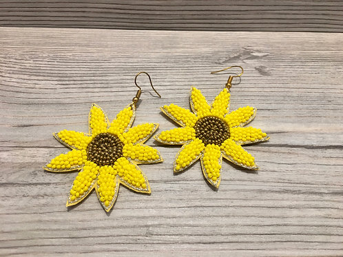 Sunflower Beaded Earrings