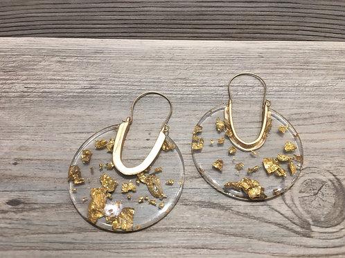Gold Resin Hoop Earrings