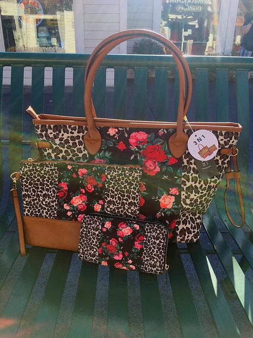 Cheetah & Floral 3-piece Handbag