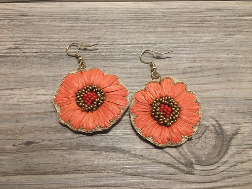 Raffia Flower Earrings