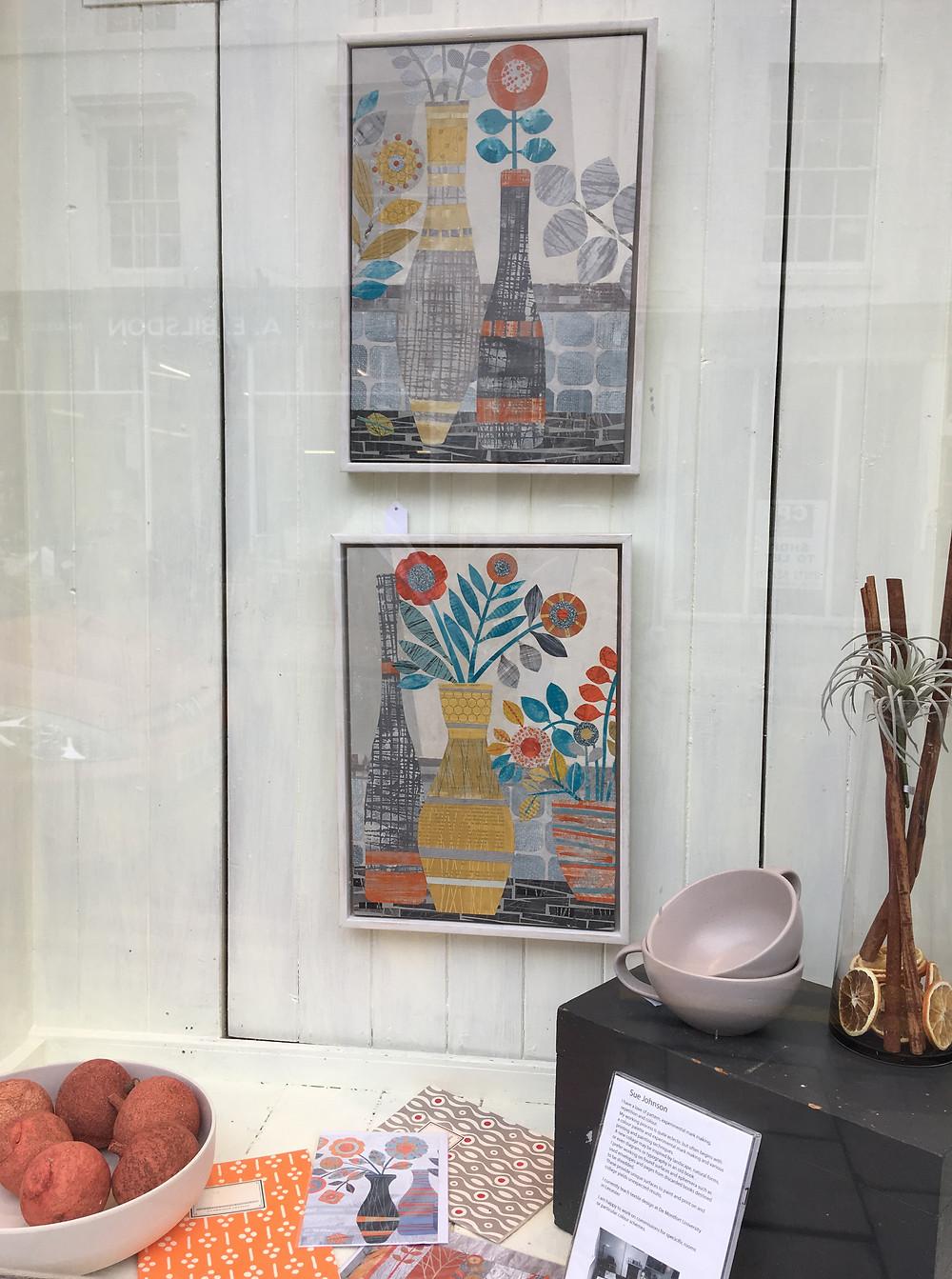 Sue Johnson collages in Priddy Essentials window