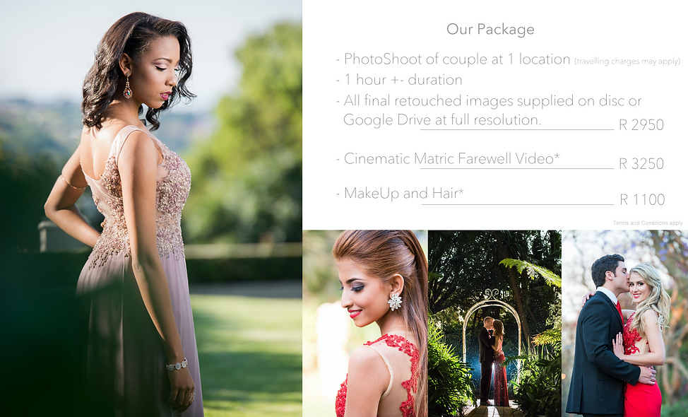 Matric farewell photography pricing