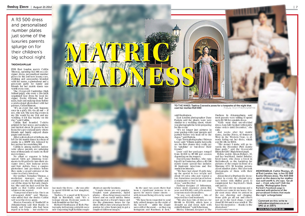 Sunday Times Matric Farewell feature