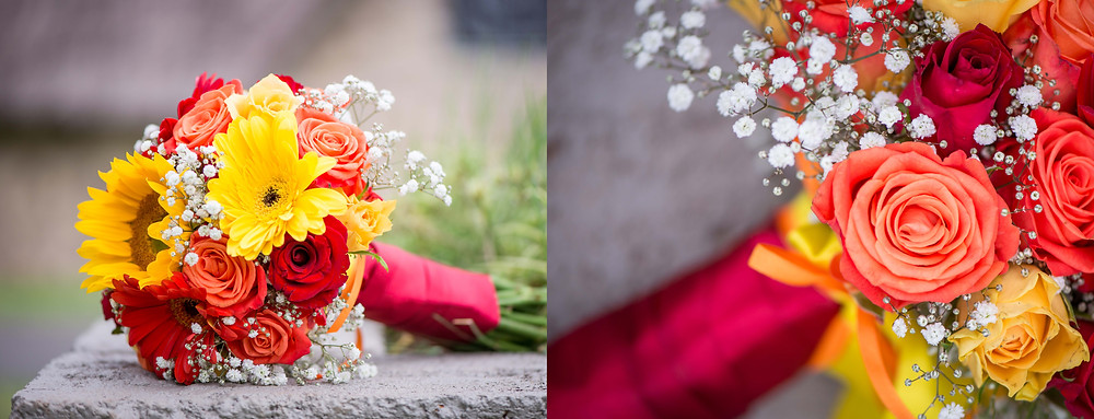 red and yellow wedding bouquet