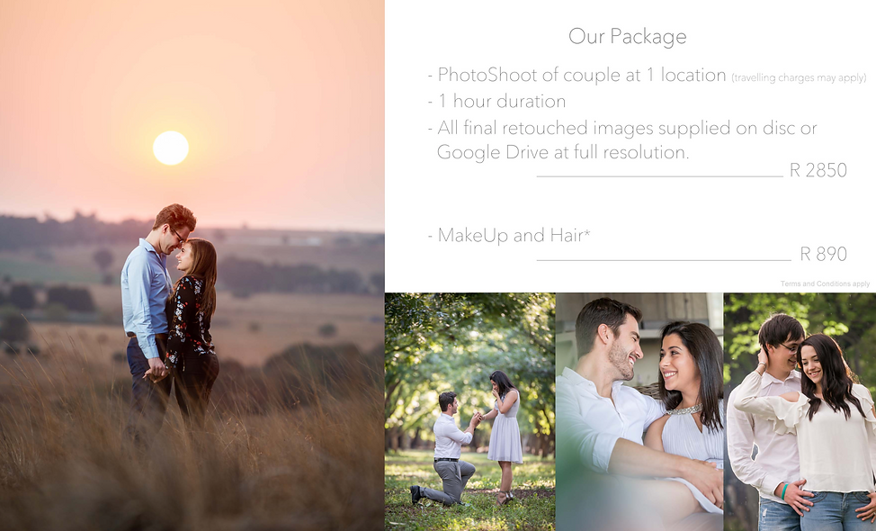 couple and engagement shoot packages johannesburg