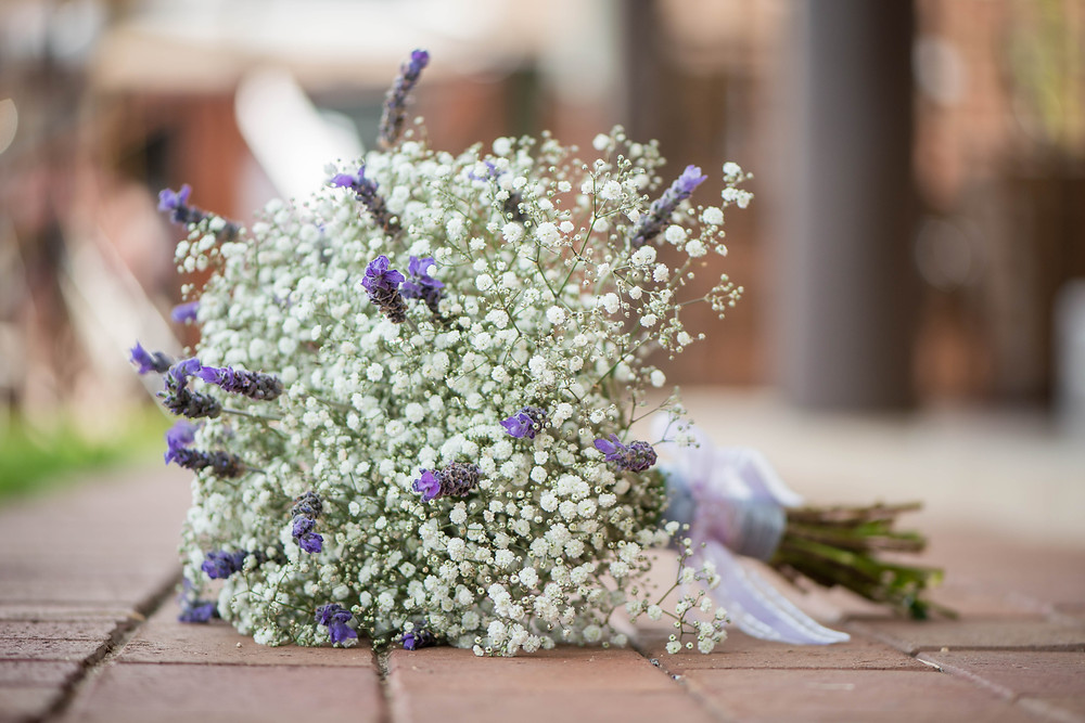 babies breath and lavender bouquet