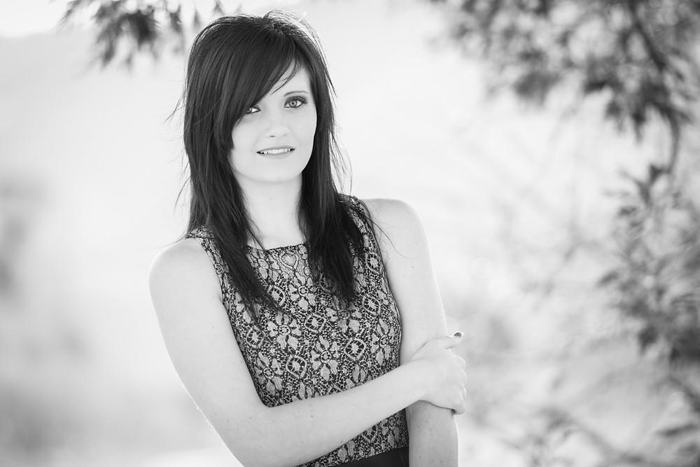 black and white model portrait