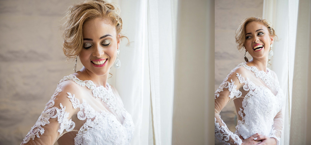 Bridal portraits by window