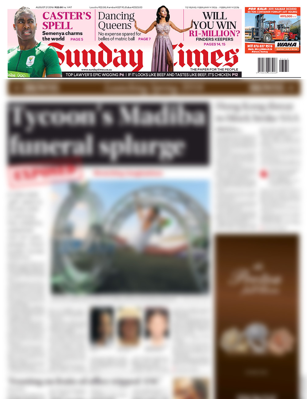 RICH Photography on the front Page of the Sunday Times
