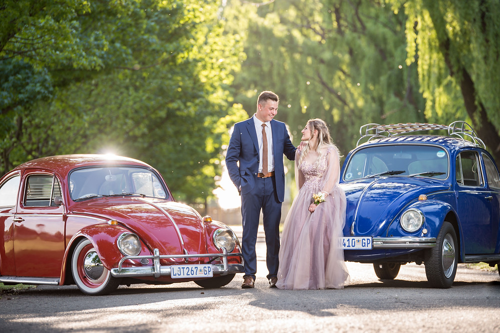 matric dance photo shoot with vw beetles
