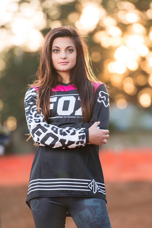 Fox motocross gear on model
