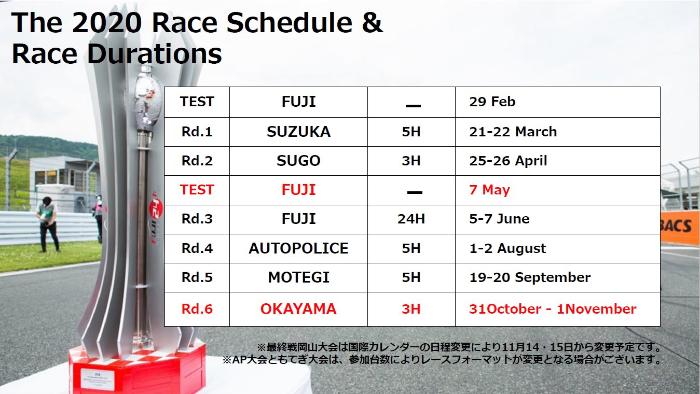 2020ピレリ・スーパー耐久シリーズのスケジュールが一部変更。最終戦 岡山ラウンドが10月31日~11月1日開催へ。