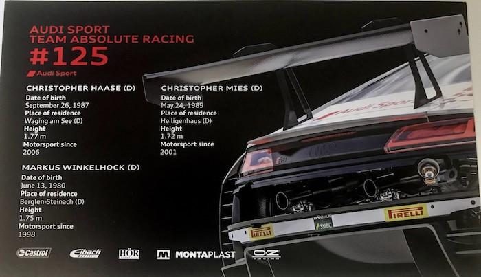 AUDI SPORT TEAM ABSOLUTE RACING #125 カード