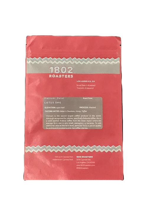 VIETNAM Lotus SHG. Baker's Chocolate, Honey, Toffee.