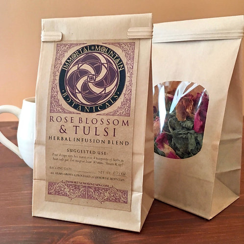 Rose Blossom + Tulsi herbal infusion blend