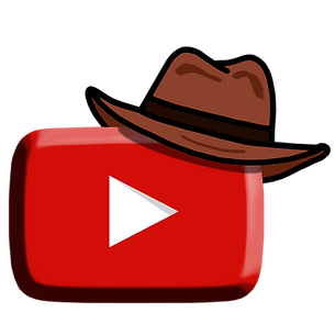 Youtube logo embossed with a cowboy hat on the right side which is a trademark of the travel cowboy a travelmagnet productions
