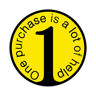 a yellow circle with 1 in the middle and text that says one purchase is a lot of help wrapping around inside the yellow circle