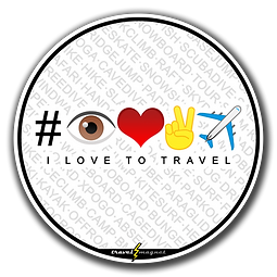 Round white sticker with hashtag made of emojis eye, heart, victory hand, airplane that translates to i love to travel