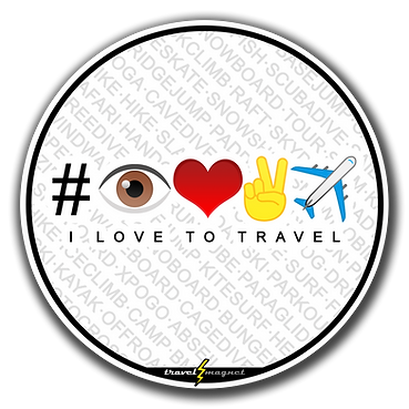 A round white sticker with background of text that says all the outdoor activities and the center is the new trendy hashtag emojis compose of eye, heart, victory hand, and airplane which translates to I love to travel
