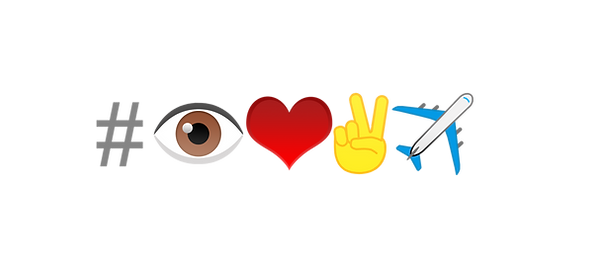 a new trendy hashtag that uses emojis of eye, heart, victory hand, and airplane that reads and translates to I love to travel