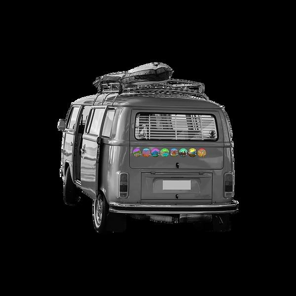 Hippie Van   Travel van with travel stickers on the rear bumper