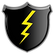 Black shield embossed with lightning bolt