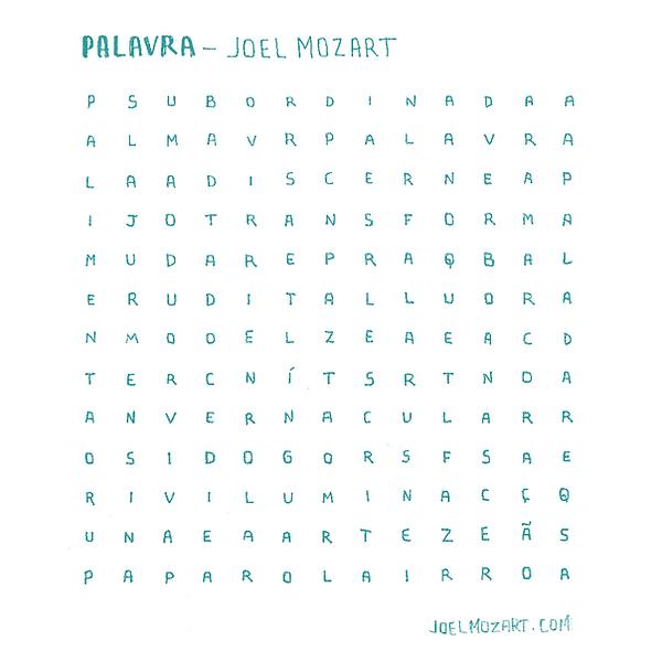 caça palavras inspirado na música Palavra | Joel Mozart