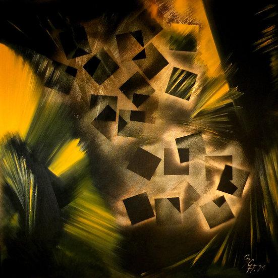 "Ölgemälde "" black squares "" 100 x 100"
