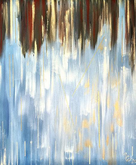"""Ölgemälde """" rain on sea """" 100 x 120"""