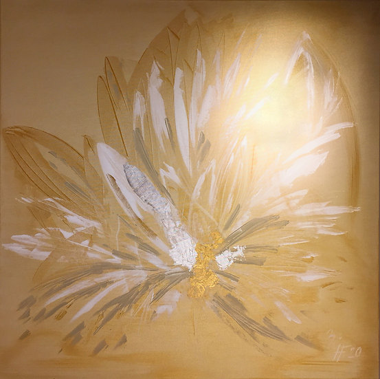 "Öl-Acrylgemälde "" golden feathers "" 100 x 100"