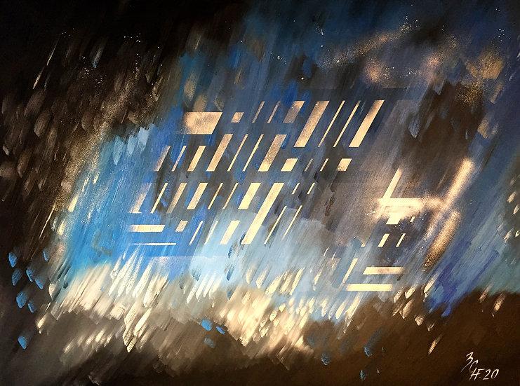 "Ölgemälde "" silver rain "" 160 x 120"