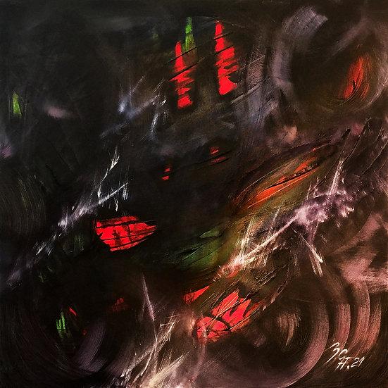 "Ölgemälde "" Lucifero di Dante "" 100 x 100"