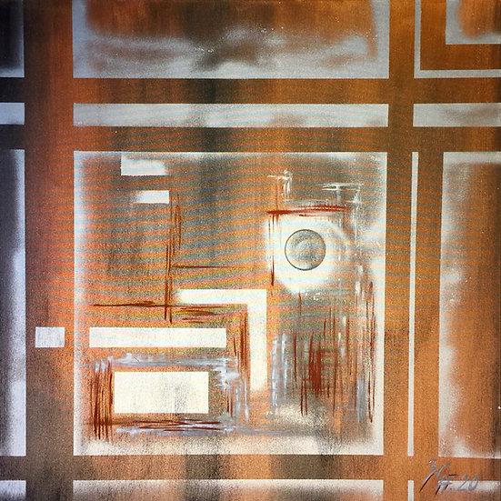 "Öl-Acrylgemälde "" cooper engraving "" 100 x 100"