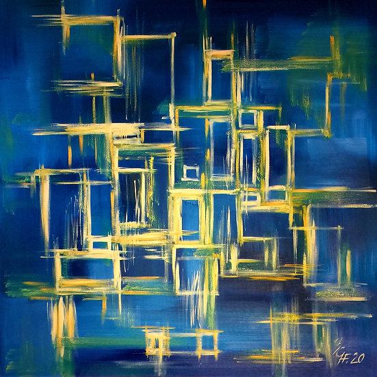 "Ölgemälde "" blue city "" 100 x 100"