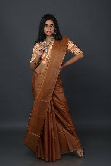 Earthy Brown Tussar Saree