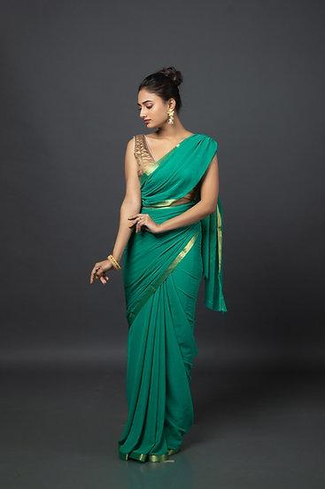 Mature Green Chiffon Saree