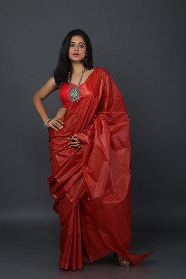 Brick Red Tussar Saree