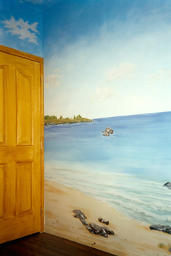 York County PA Beach Mural with Faux Finish Door