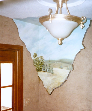 York County PA Landscape Mural with Faux Finish Walls