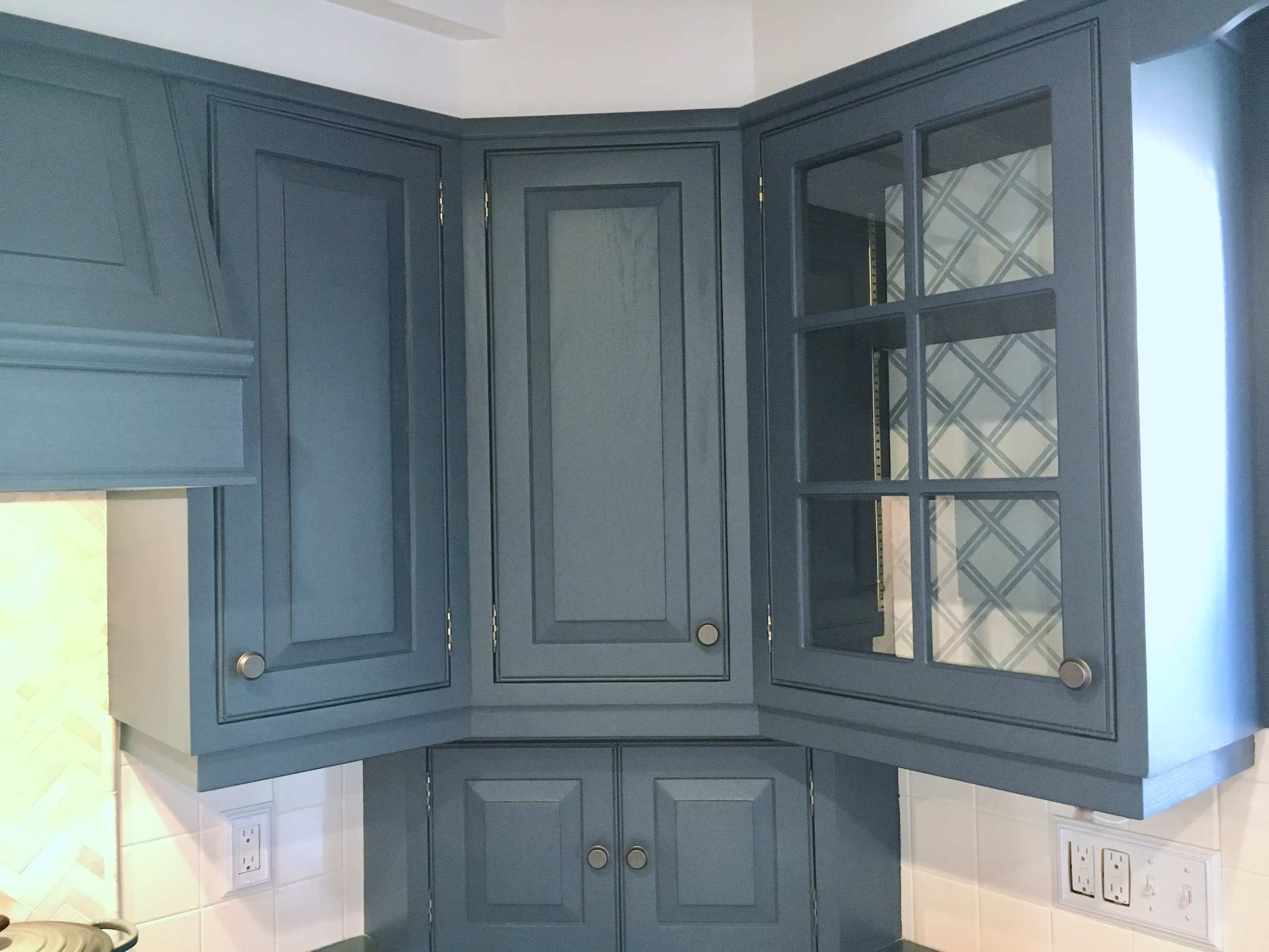 Navy Blue Cabinets with Stencil Interior