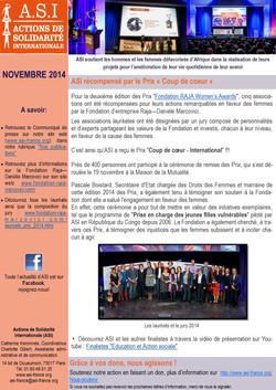 Newsletter Novembre 2014