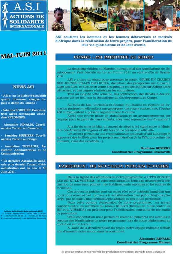 Newsletter Mai-Juin 2011