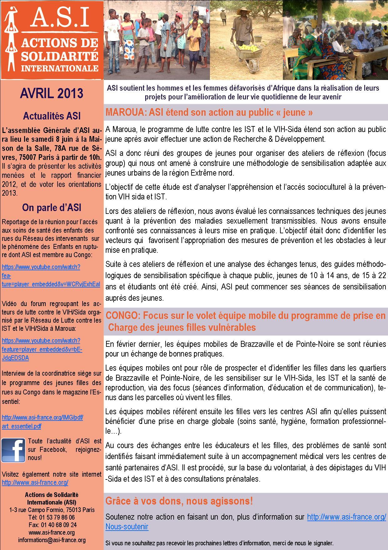 Newsletter Avril 2013
