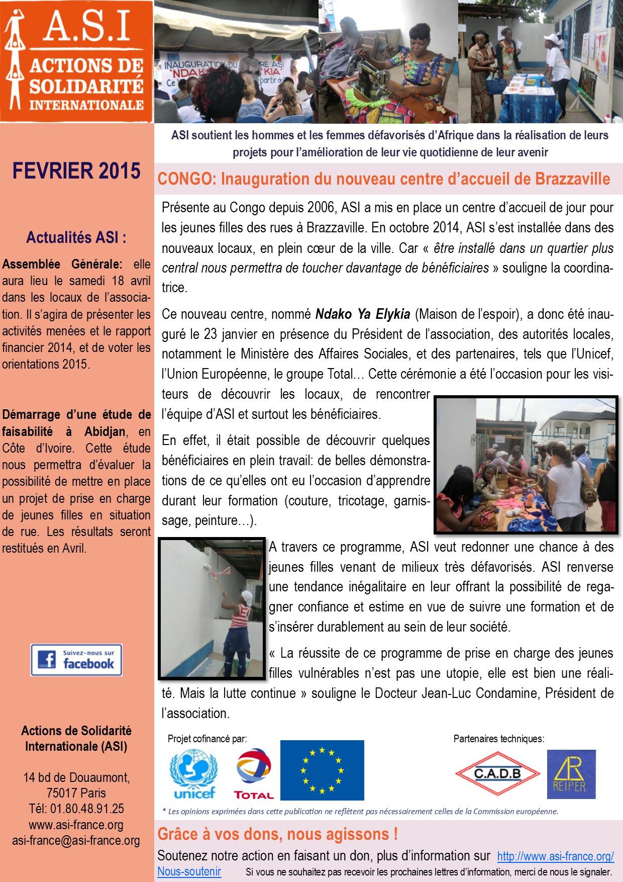 Newsletter Février 2015