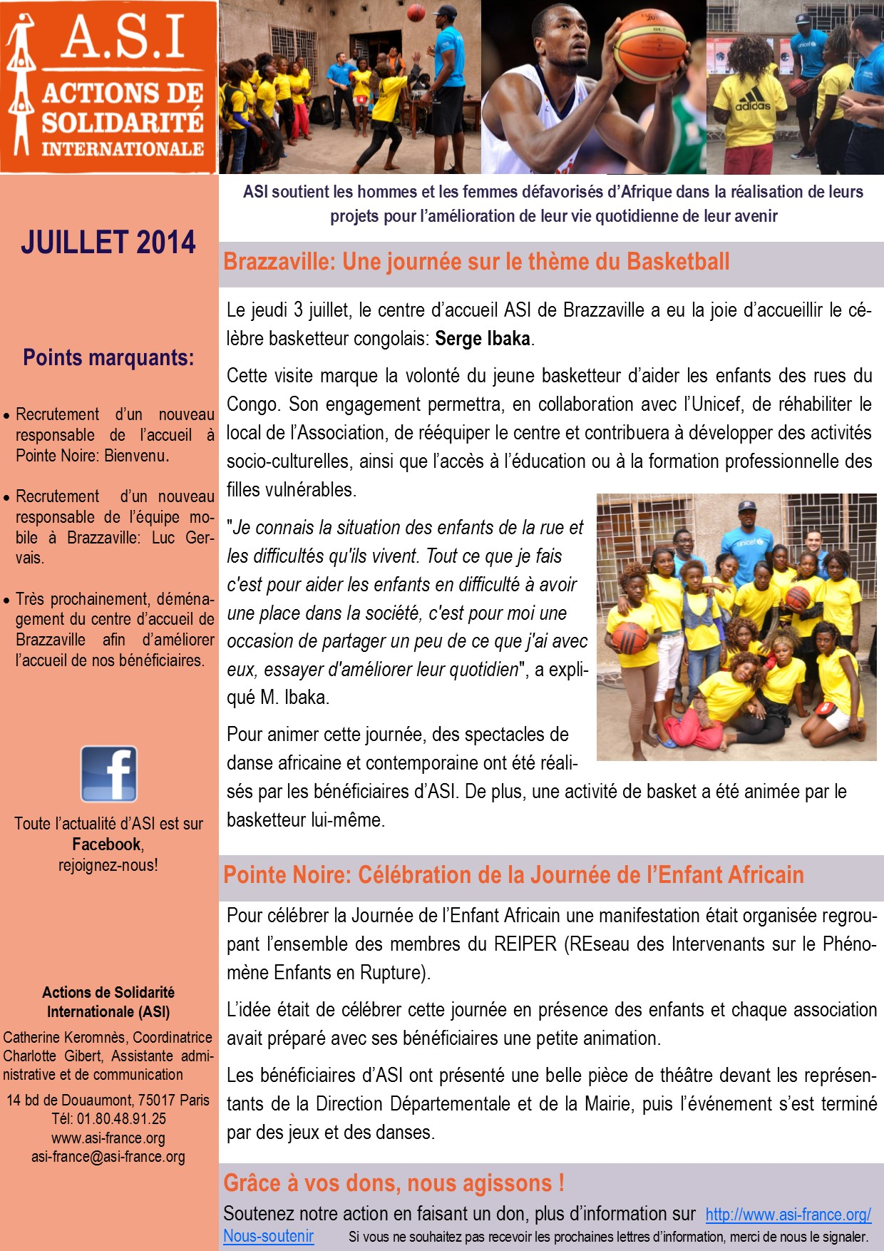 Newsletter Juillet 2014